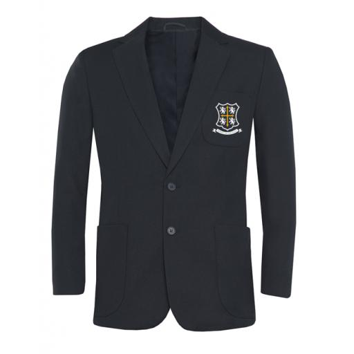 Navy style A patch pocket blazer, crested with lining