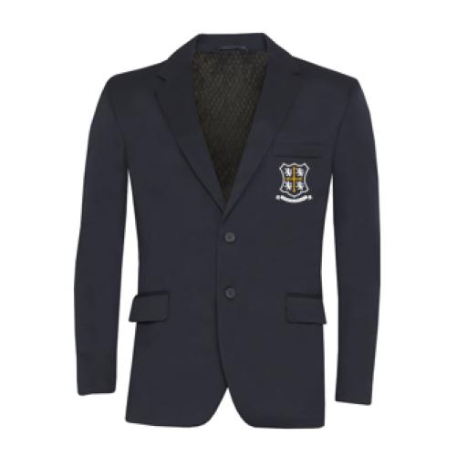 Navy style E boys jacket, with navy lining and crested patch pocket